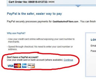 You may pay with Visa, Mastercard, Discover or American Express WITHOUT a PayPal Account
